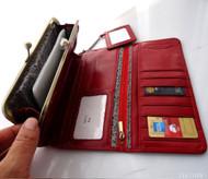 Genuine leather woman bag design purse Vintage tote clutch Handbag christmas m red Wine