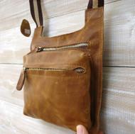 GENUINE full LEATHER BAG WALLET MEN PURSE WAIST style woman Messenger brown new