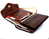 Genuine vintage leather mans wallet Purse bifold 6 Credit Card Slots 2 id Windows 2 Bill Compartments brown daviscase