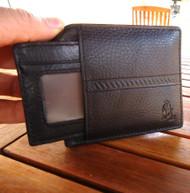 Genuine real leather man wallet Purse bifold Credit Card TOUGH Removabl black id