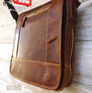 Genuine Leather Shoulder Bag Messenger Vintage man handbag fit tablet android R 10 11