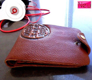 Genuine leather mans money wallet brown card case Purse CreditCard bag fish  id
