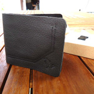 Genuine real leather man wallet bag Coin Purse bifold Credit Card TOUGH black ID