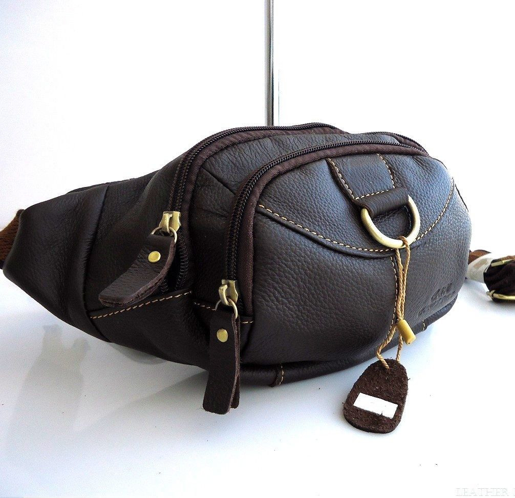 21bf2d0a5 ... Genuine real Leather wallet Bag man zipper Waist Pouch sling backpack  cellphone. Image 1
