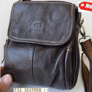 Genuine Leather Shoulder camera Bag vintage small man woman Strip Pouch dark bro