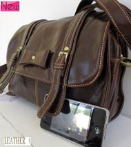 Genuine real soft leather woman bag brown purse tote hobo handbag top retro style