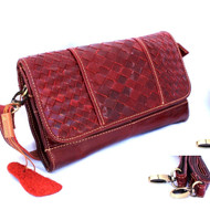 Genuine natural leather woman purse tote wallet Clutch zipper dark red bag retro bordo