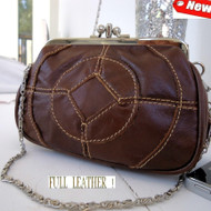 Genuine real leather woman purse tote Ladies wallet Clutch bag coine ring Chain