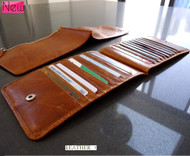 Men woman Money genuine leather Credit Card id Holder Wallet 18 slots handmade bag creditcard big brown