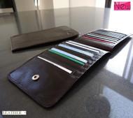 Men woman Money genuine leather Credit Card id Holder Wallet 18 17 slots handmade bag credit card big brown