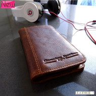 genuine vintage leather case for iphone 5 5s cover book wallet stand holder crard ID handmade  70's