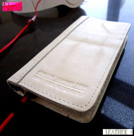 genuine real leather case for iphone 5 cover book wallet stand holder crard ID handmade white