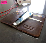 genuine leather Case for galaxy s4 and htc butterfly s book wallet handmade one