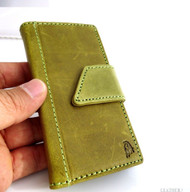 genuine vintage leather case for iphone 5 5s book wallet cover new handmade cards skin apple green