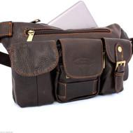 Genuine soft Leather Shoulder wallet Bag man woman Pocket Waist Pouch skin hip