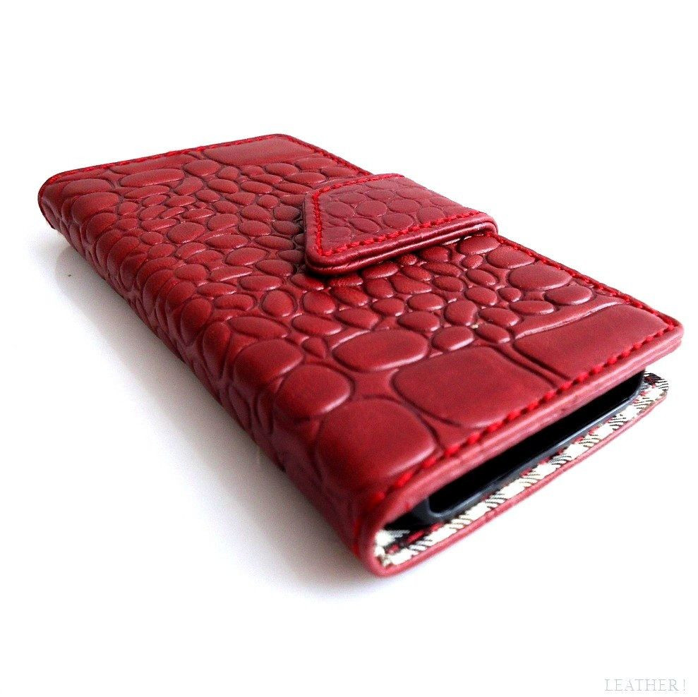 online retailer 88272 a5061 genuine vintage leather case for iphone 5 5s book wallet cover new handmade  crocodile Model red wine