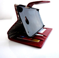 genuine real leather Case for HTC ONE m7 book wallet handmade skin crocodile Design Red