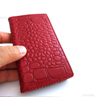 genuine real leather Case for HTC ONE m7 book wallet handmade skin crocodile Design wine