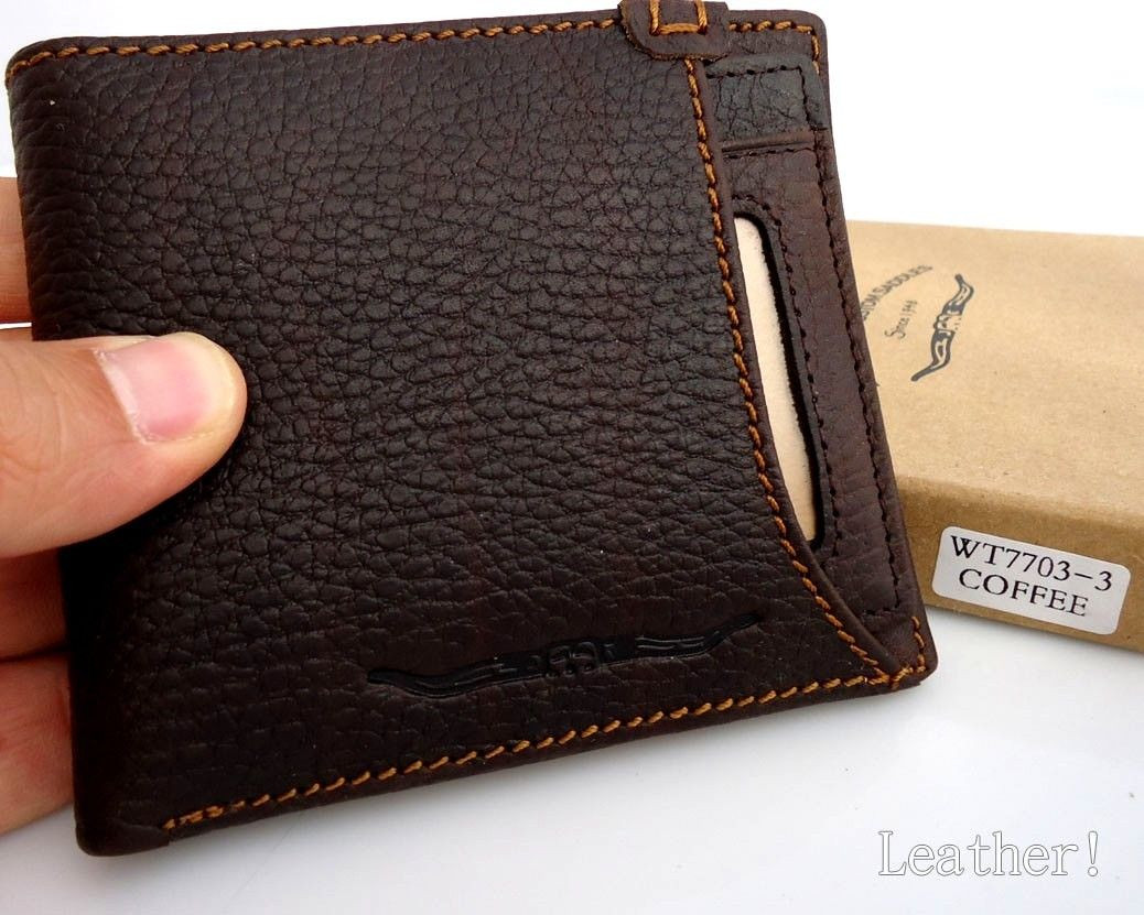 29e59209f51 Home · Mens  Men Money Clip Genuine full Leather wallet Coin Pocket Purse  credit handmade box. Image 1
