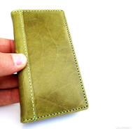 genuine natural leather case for iphone 5 5s book wallet cover new handmade cards skin apple green