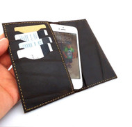 genuine leather slim case for iphone 5 5s 5c SE book wallet cover handmade cards slots slim dark brown daviscase