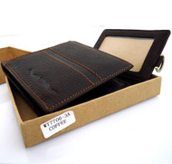 Genuine vintage leather mans wallet bad Coin Purse bifold Credit Card Removable uk  ID handmade
