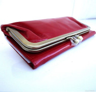 Genuine real leather woman purse wallet Clutch Coins bag red bordo skin ta