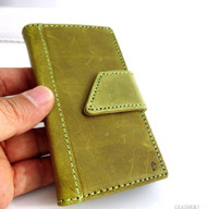 genuine real leather vintage Case for HTC ONE book wallet handmade m7 skin green