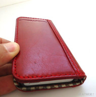 genuine real leather case for iphone 5 s cover book wallet stand holder red TA