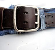 Genuine vintage Leather belt 43 mm Waist handmade classic retro brown 60s size M