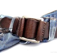 Genuine full Leather belt 43mm mens womens Waist handmade classic brown size L