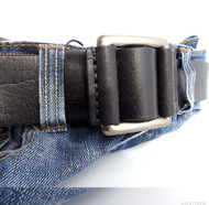 Genuine full Leather belt 43mm mens womens Waist handmade classic 60' s b black size L