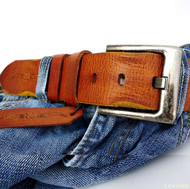 Genuine buffalo Leather belt 43mm men womens Waist handmade classic bright brown size M retro