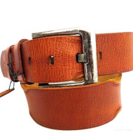 Genuine buffalo Leather belt 43mm men womens Waist handmade classic bright brown size L retro
