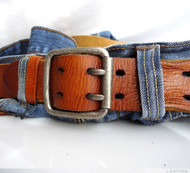 Genuine vintage Leather belt 43mm mens womens Waist handmade classic for jeans bright brown size M free shipping !