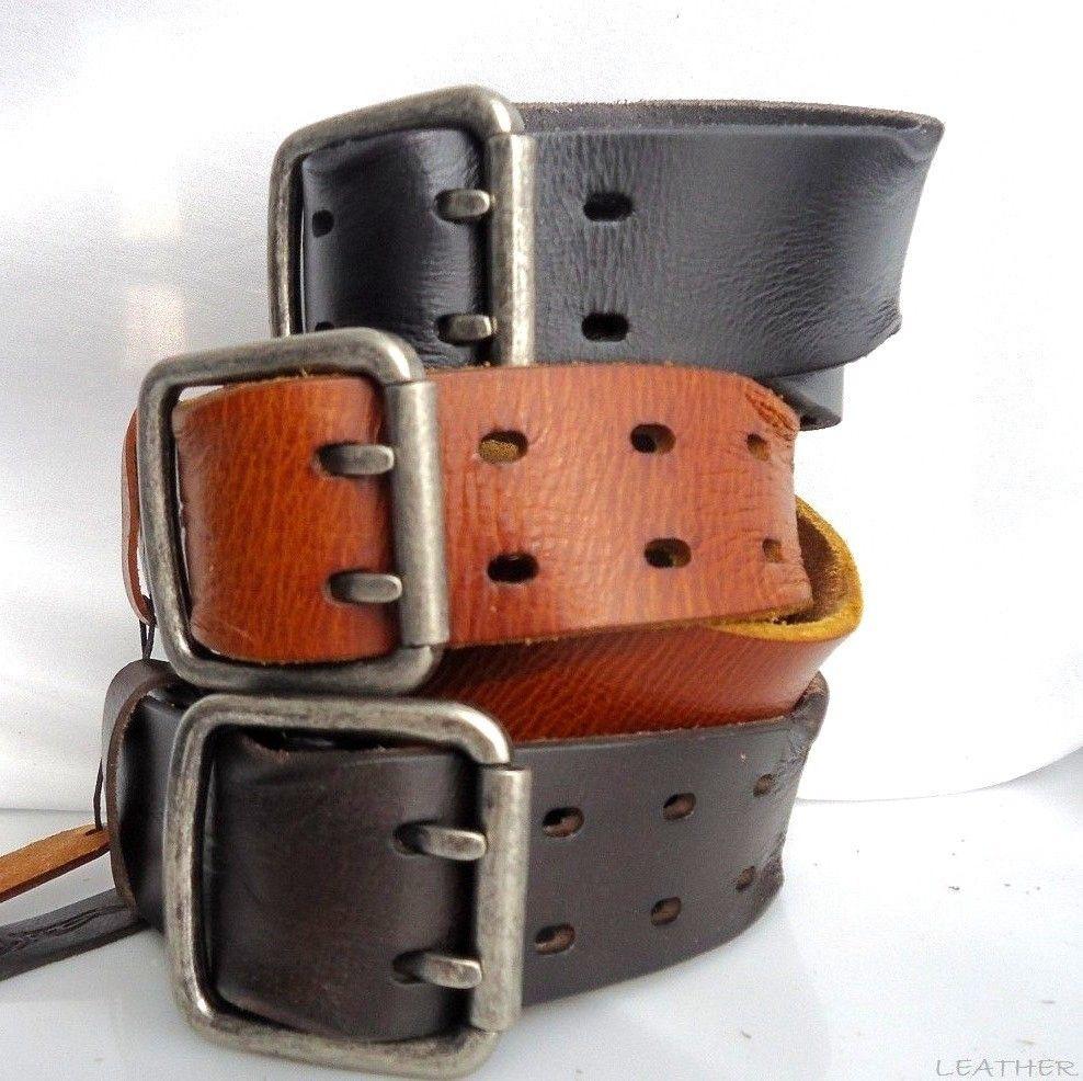 Genuine vintage Leather belt 43mm Waist handmade classic retro BLACK size XL new