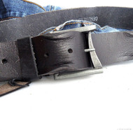 Genuine vintage Leather belt 43mm Waist handmade classic retro 70S BLACK size XXL