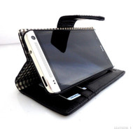 genuine skin leather Case for htc butterfly s book wallet handmade stand