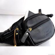 Genuine Leather Pouch wallet Bag for man Pocket Waist sling backpack cellphone classic black daviscase