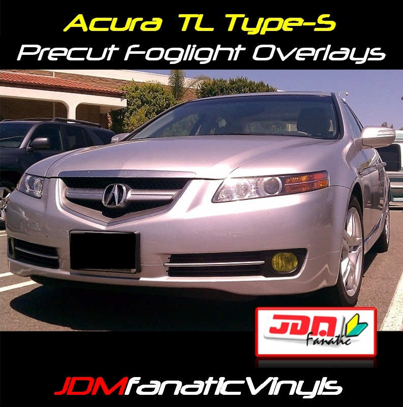 2007-2008 Acura TL Type-S Precut Yellow Fog Light Overlays