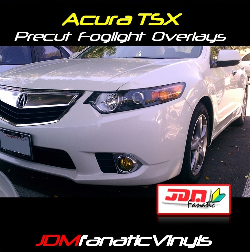 09-12 Acura TSX Precut Yellow Fog Light Overlays Tint