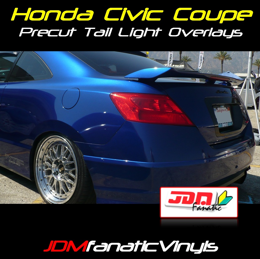 Honda Civic Coupe Redout Red Tail Light Overlays