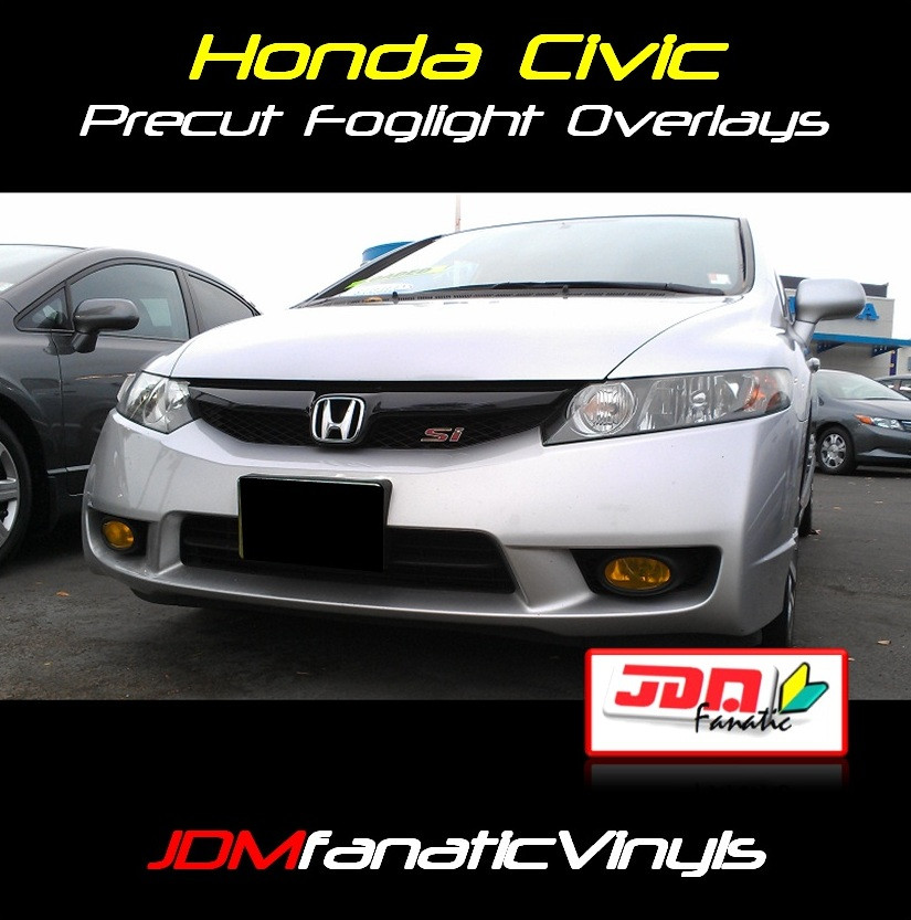 2009-2011 Honda Civic Preuct Yellow Fog Light Overlays Tint