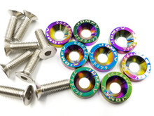 JDMFV Neo Chrome Fender Washers Engine Dress up Kit 6Mx20- Set of 8