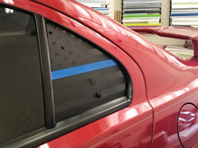 Thin Blue Line American Flag Quarter Window Decal (2008-2017 Lancer / EVOX)