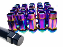 NEO CHROME Rainbow Steel Tuner Lug Nuts - Open Ended 55mm