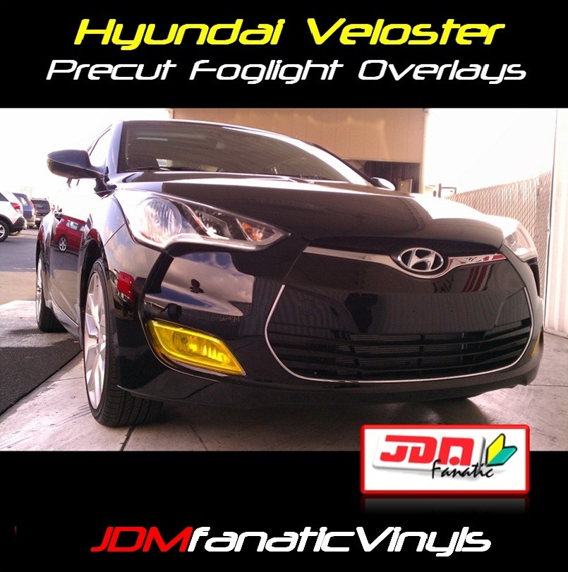 12 Hyundai Veloster: 12-13 Hyundai Velsoter Precut Yellow Fog Light Overlays Tint
