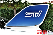TYPE B - Precut Spoiler Wing Side End with logo Cutout Overlay Wrap (11-14 STI)