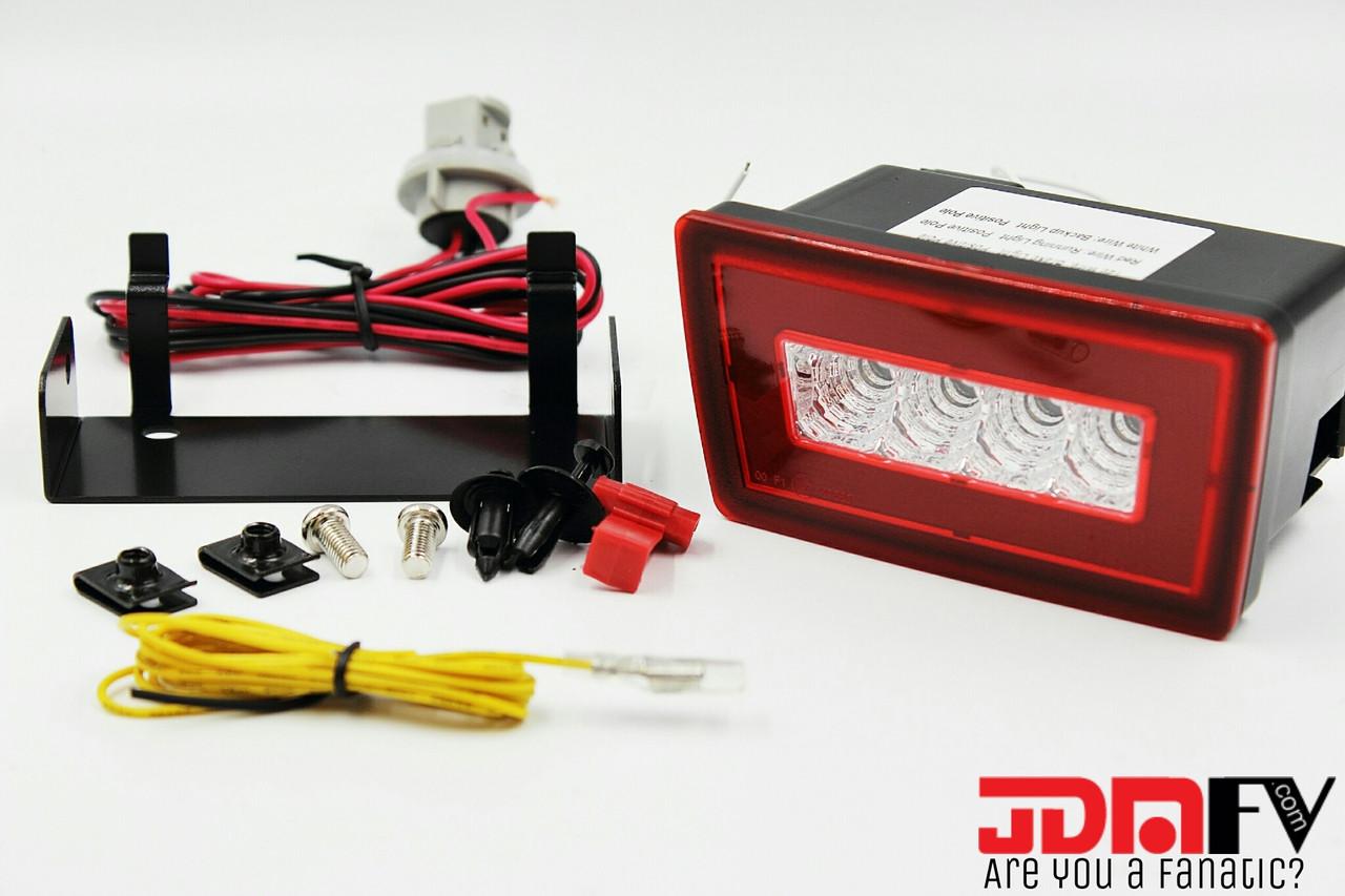 Led F1 Style Rear Fog Reverse Brake Light Jdm Red Clear Wiring Lights Image 1