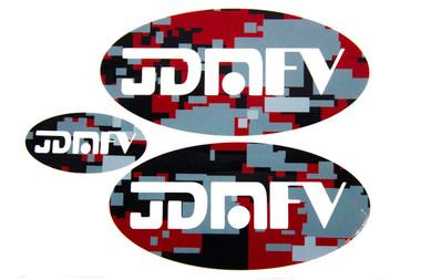 Red Camo Print with Matte White Logo
